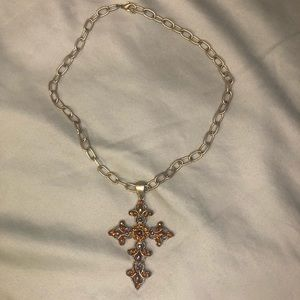 COPY - Silver Metal and Amber Cross Necklace
